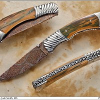 Damascus Folder- Stainless Carved Bolsters- Raised Rope Filework