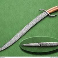 Mosaic Damascus Short Sword- Matching Folding Dagger- Fossil Walrus Ivory