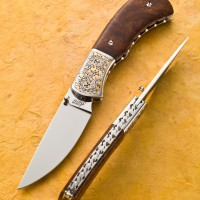 Stainless Steel Blade- Jim Small Engraving Gold Inlay- Desert Ironwood