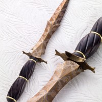 Barbed Art Dagger- Take Down Handle- Fluted African Blackwood- Gold Spacers