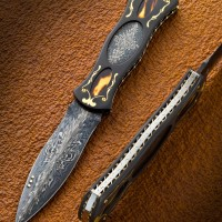 Folding Dagger- Radiation Damascus- Tortoise Shell Inlay- 18k Gold Inlay