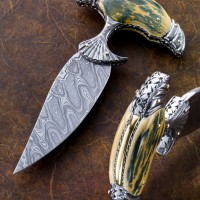 Push Dagger-Fossil Mammoth Ivory- 18k Gold Overlay on Frame