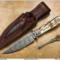 Take Down Hunter- Steve Dunn Engraved- Fossil Mammoth Ivory